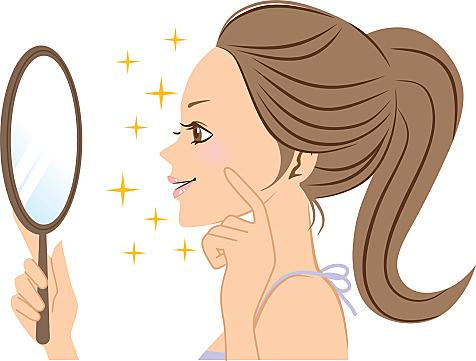 Women look in the mirror